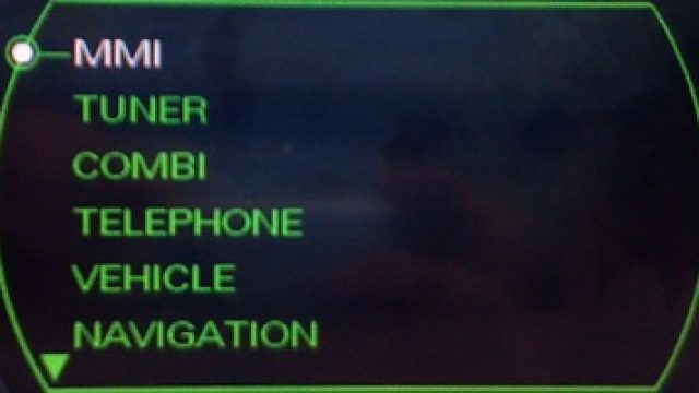Audi MMI 2G hidden green menu description