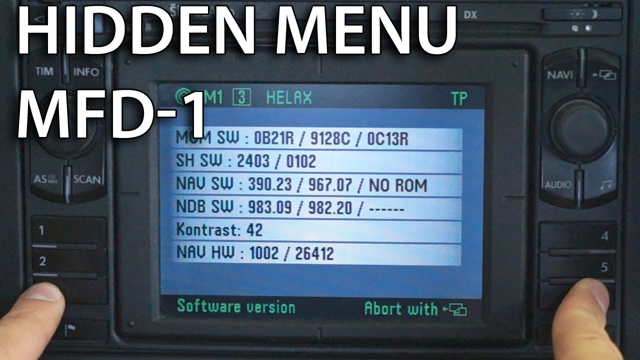 MFD 1 hidden menu (VW Škoda SEAT Ford)