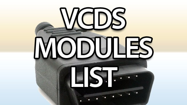 VAG control modules list for VCDS
