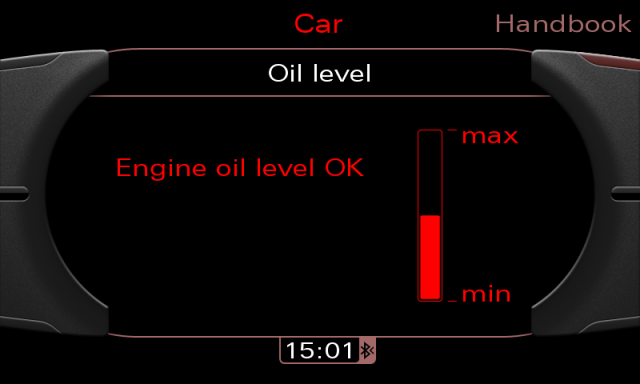 Audi MMI 3G screenshot - oil level