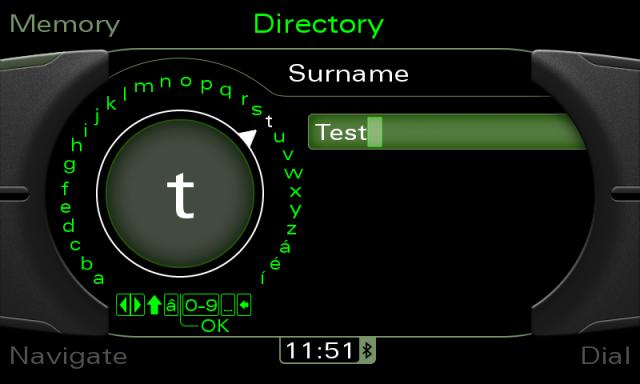 Audi MMI 3G screenshot - phone directory