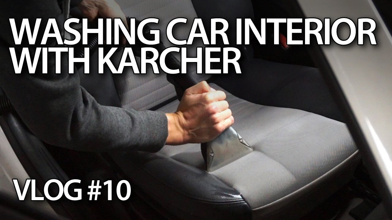 Washing car interior upholstery with Karcher Puzzi
