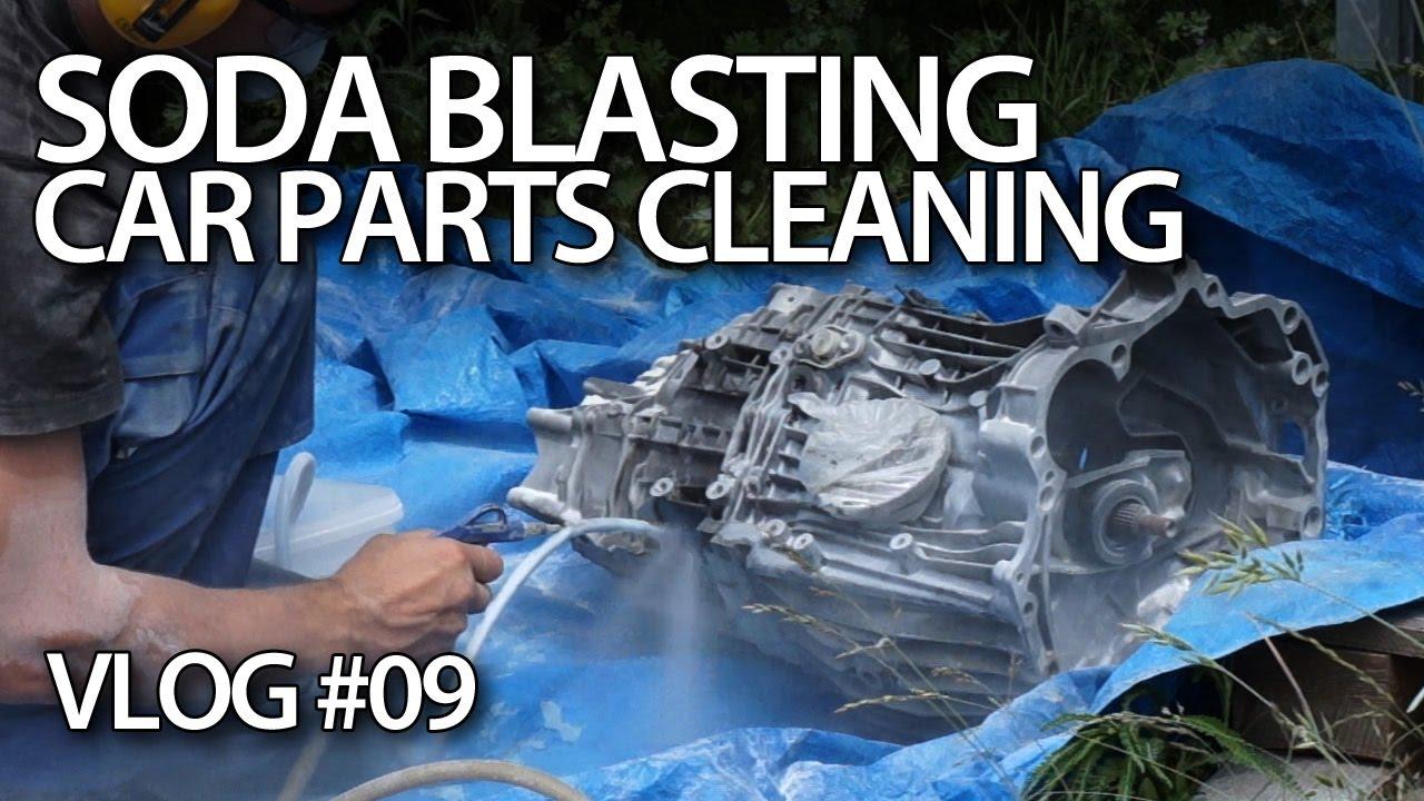 Baking soda blasting car parts
