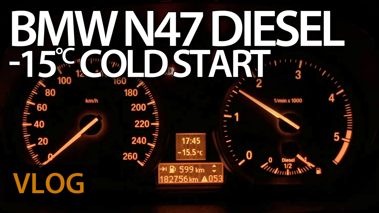 BMW N47 diesel cold start at -15°C with defective glow plug